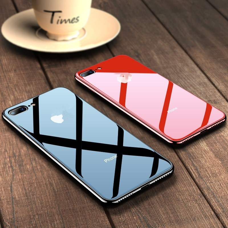 Luxury Tempered Glossy iPhone Case For iphone 11 pro max Cover Slim Plating Glass Phone Cover for iPhone 7 8 Plus 6 6s XS Max XR
