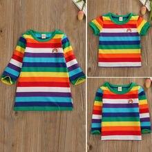 Радужная футболка, милые Повседневные Вечерние платья-футболки в радужную полоску для маленьких девочек