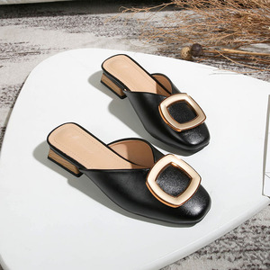 Image 2 - Closed Toe Mules Women Genuine Leather Low Heels Slippers Casual Metal Buckle Slip on Slides Shallow Loafers Big Size Shoes
