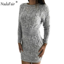 Nadafair Winter Sweater Dress Women Autumn Long Sleeve Elegant Twist Solid Casual Mini Tunic Bodycon Knitted Robe Pull