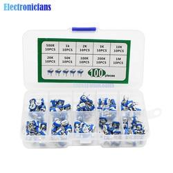 100 unids/lote 10 valores RM065 500R 1K 2K 5K 10K 20K 50K 100K 200K 1M resistencia ajustable potenciómetro de ajuste multigiro con caja