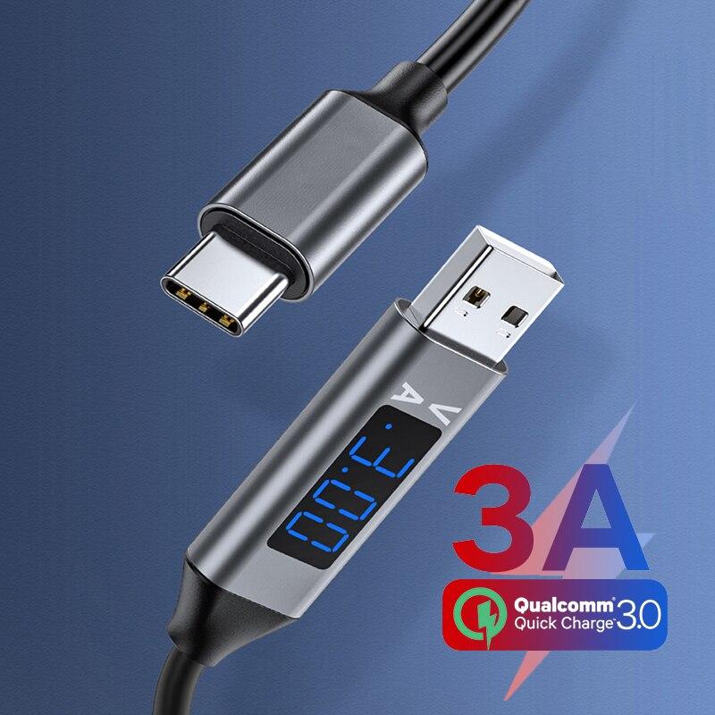 Светодиодный 3A USB C зарядное устройство кабель с разъемом USB типа C для синхронизации данных и зарядки провода с цифровым дисплеем USB зарядное...