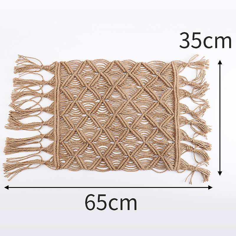 Image 5 - Hand woven Hemp Rope Coaster Home Decoration Window Cushion 