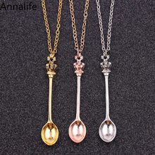 2019 New Tiny Tea Spoon Shape Pendant Necklace With Crown For Women 3 Colors Creative Mini Long Link Jewelry Spoon Necklace(China)