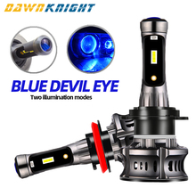 2PCS Devil Eyes H7 Led Lamp Canbus No Errors Turbo Fan H11 9005 9006 Headlight 72W 120000LM  Auto Bulb