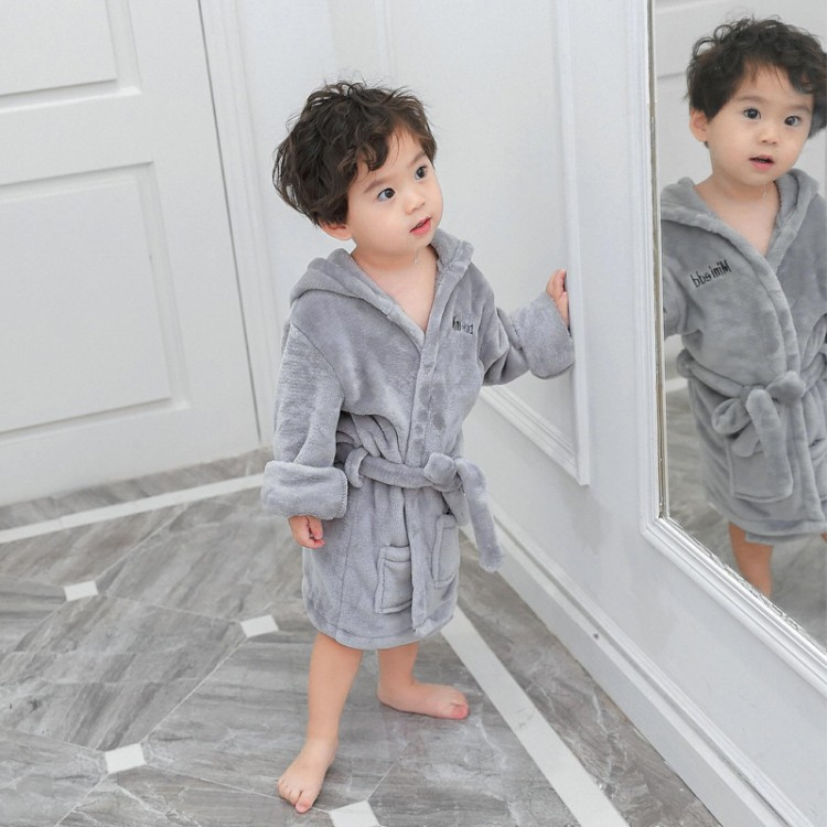 2018 Korean-style Fall And Winter Clothes BOY'S Baby Flannel Bathrobe Aged 1-2 Years 3-5 Young CHILDREN'S Home Wear