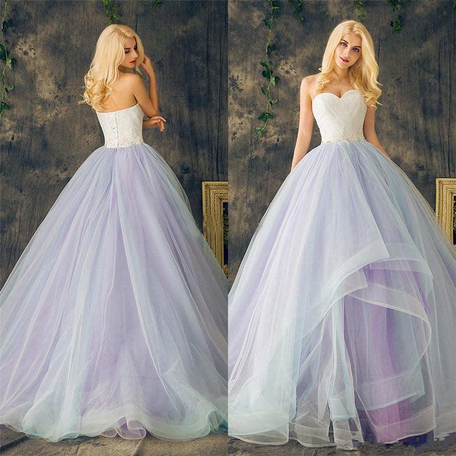 Sweetheart Lace Up Ball Gown Purple Plus Size Multi Color Layers Skirt Wedding Dresses Crystal Beading Lace Organza Bridal Dress