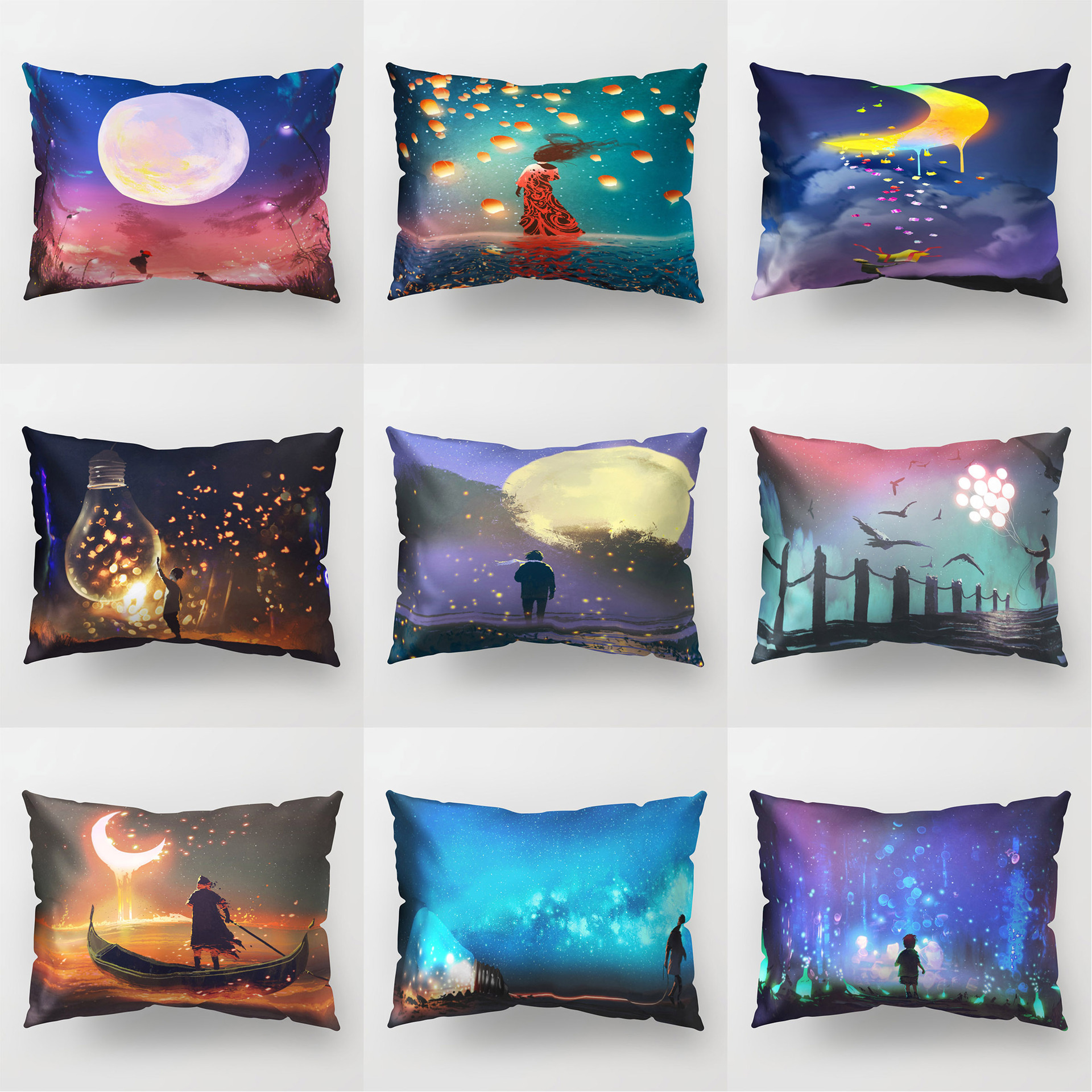 Fairy Tale Night Cushion Cover <font><b>30*50</b></font> Dreamy <font><b>Pillow</b></font> <font><b>Cases</b></font> Polyester Decorative for Sofa Couch Decor Accessories Home Living Room image