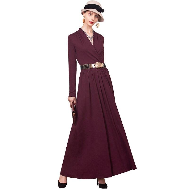 Haute qualité automne v-cou longue robe Slim Fit à manches longues bureau dame Maxi robes de grande taille vêtements DZ1133