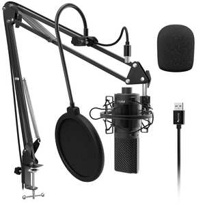 Fifine Condenser-Microphone Arm-Shock-Mount Studio-Recording Desktop-Mic Vocals Voice-Youtube