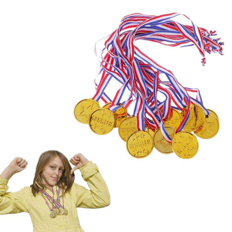 12Pcs Plastic Gold Tone Winner Award Medals School Supplies Kids Toy Photo Props