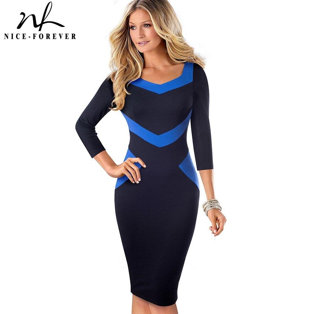 Nice-forever Elegant Patchwork Wear To Work Office Vestidos Business Bodycon Sheath Slim Women Dress BtyB411