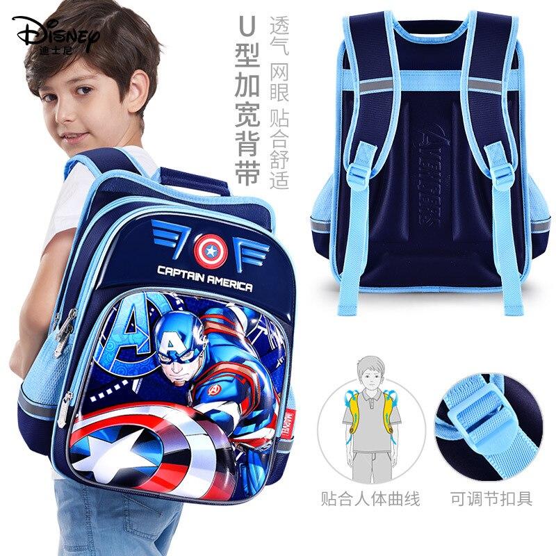 Disney Per Bambini Zaino Ragazzi Sacchetto di Scuola 3-12 Età Spider-Man Iron Man Impermeabile Striscia Riflettente 3D Modello regalo di compleanno 5