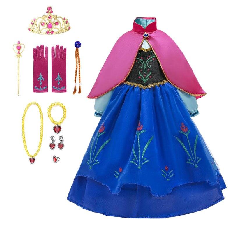 Frozen 2 Fantastic Anna Princess Dresses Girls Halloween Costume Long Gown Kids Carnaval Wedding Dress Children Cosplay Clothing