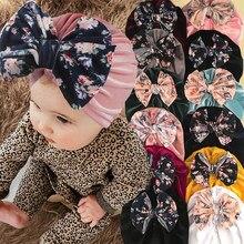 Flor grande bowknot bebê chapéu de veludo macio do bebê meninas chapéu bonnet primavera infantil da criança turbante gorro crianças chapéu