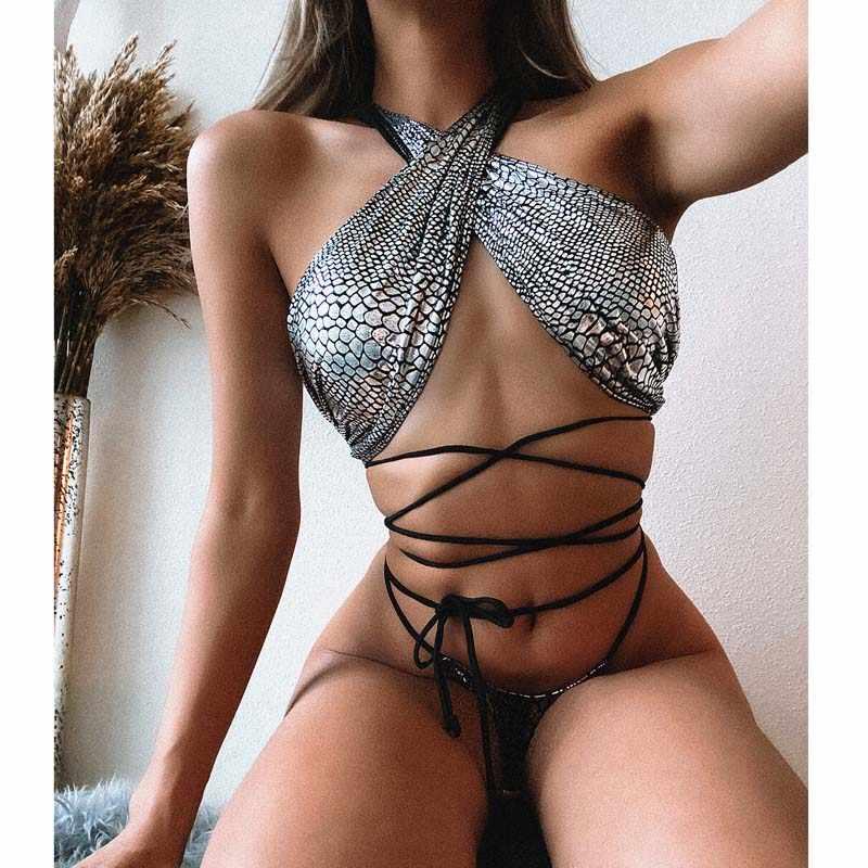 Bandaż Bikini 2020 Sexy kobiety strój kąpielowy stroje kąpielowe kobiet Halter stringi brazylijski zestaw mikro Bikini Biquini strój kąpielowy