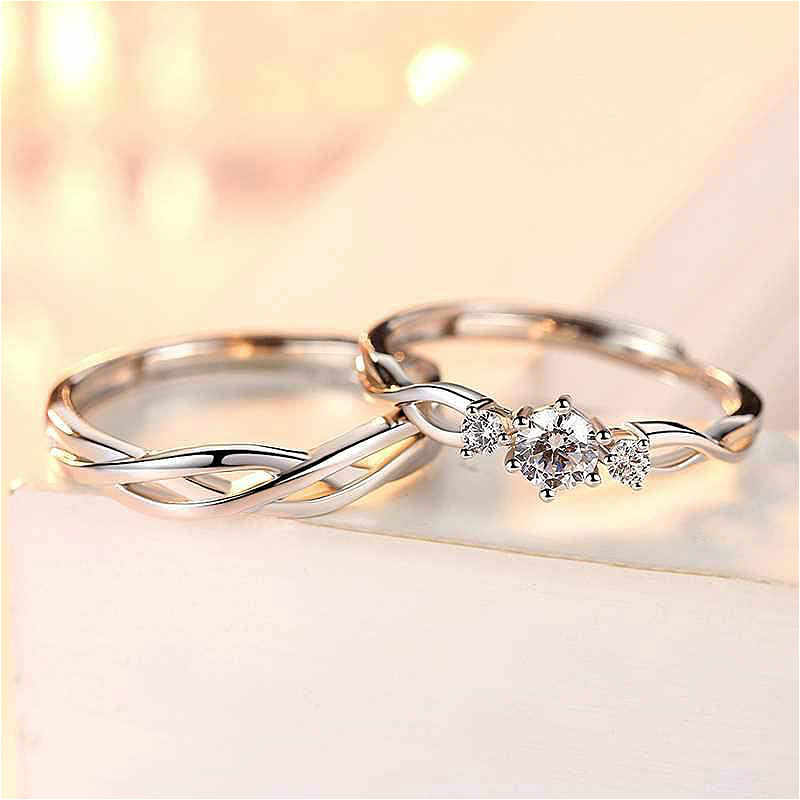 1 Set Sell Adjustable Lovers Zircon Engagement Rings for Women Silver Color Wedding Rings Austrian Crystals Rings