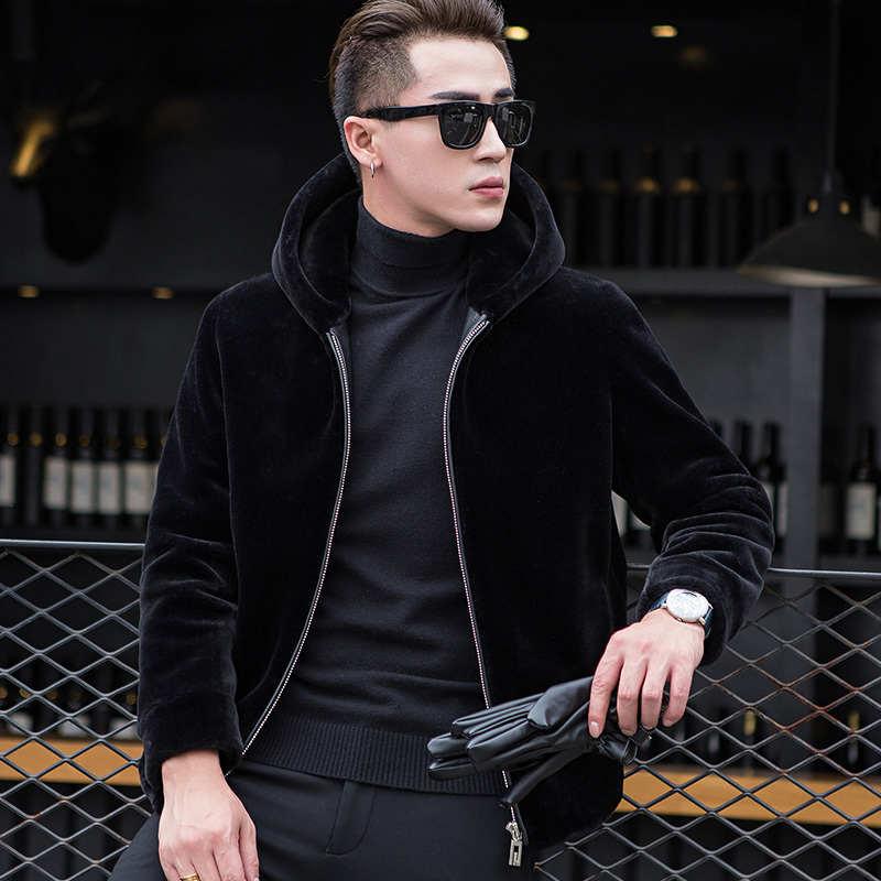 Real Fur Coat Autumn Winter Jacket Men Sheep Shearing Wool Coats Plus Size Short Hooded Men's Jackets 1772 KJ832