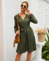 Autumn winter dress women bandage casual short green robe hiver femme vestidos cortos ropa mujer dresses roupa feminina elbise