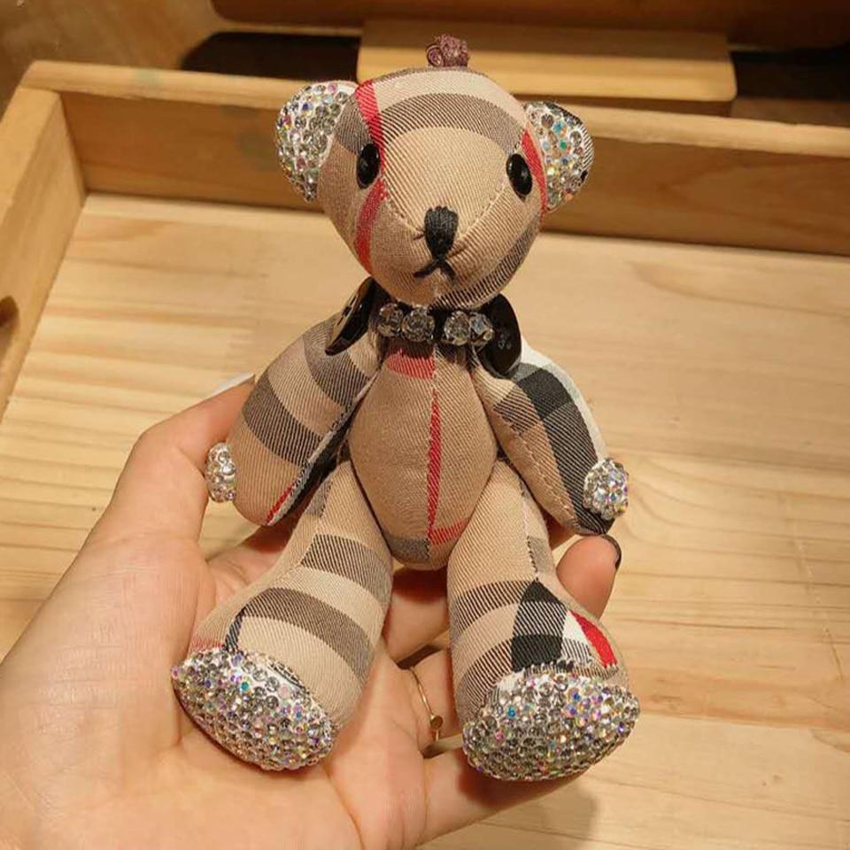 Diamantes oso muñeca llavero con diseño de animal relleno de dibujos animados creativo de peluche llavero bolsa colgante coche ornamentos animales oso llavero