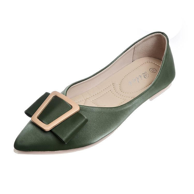 Women's Flats Decoration Pointed-Toe Autumn Fashion Metal Non-Slip Casual Solid All-Match