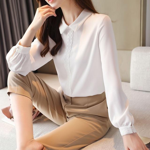 Korean Chiffon Shirts Women Long Sleeve Shirts Woman Solid Blouses Tops Office Lady White Shirt Tops Plus Size Woman Blouse Top 3