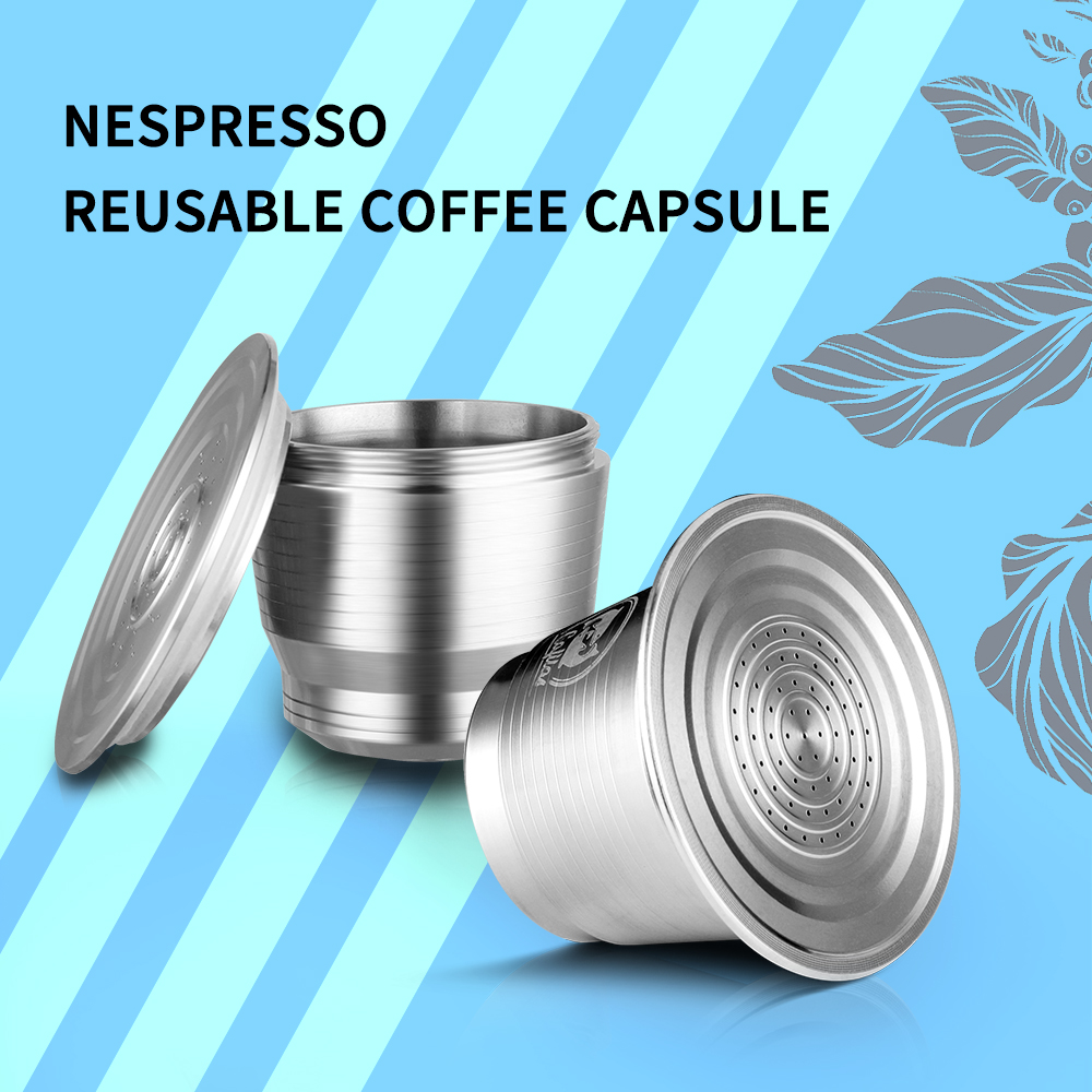 Food-Grade Stainless Steel Reusable Capsule Permanent Coffee Pod Holder Compatible For Nespresso Original Line With Dosing Ring