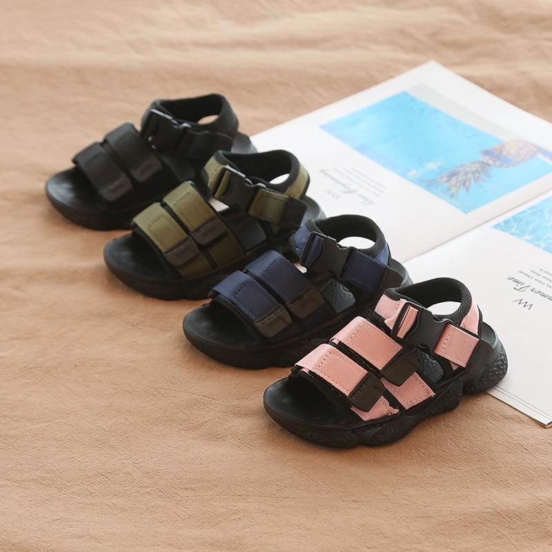2020 New Soft Bottom Rubber Kids Sandals For Girls Boys Chidlren Beach Anti-slip Sandals Baby Toddler Summer Sandals Size 24-36
