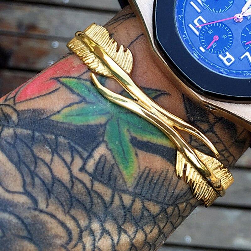 Mcllroy Titanium Aço pulseira bangle para as mulheres e homens Do Punk jóias 2016 Nova Marca pena abertura pulseira de Ouro