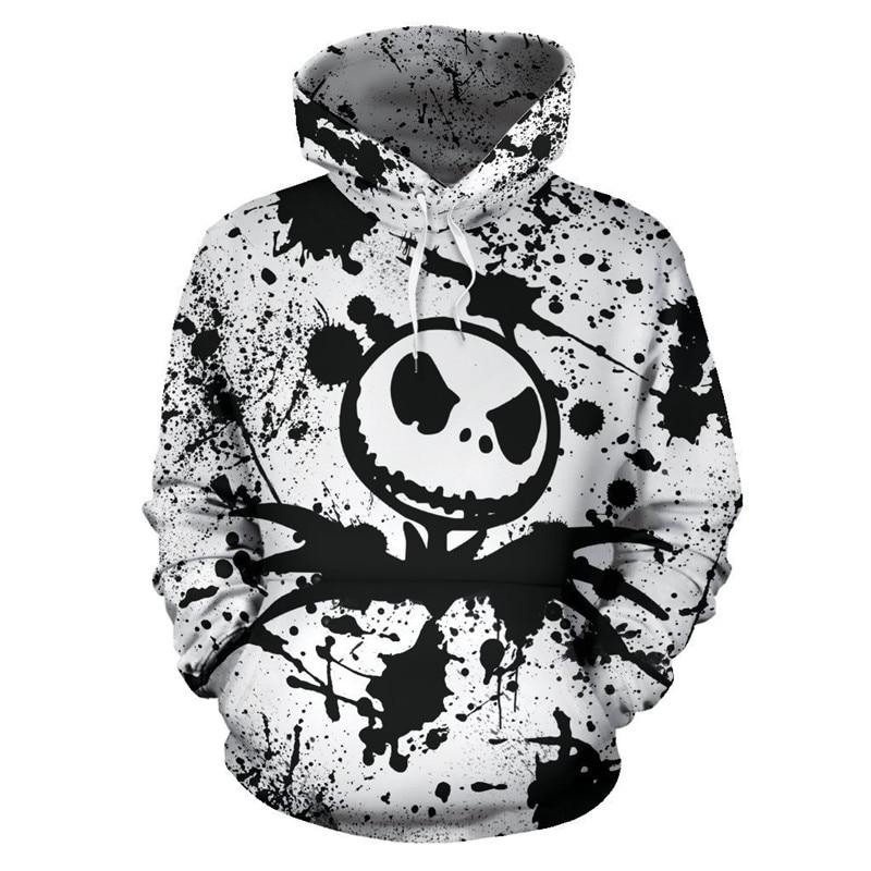 The Nightmare Before Christmas Halloween Pumpkin King Skull Hoodies Sweatshirt Hooded Hoody Mens Hoodies Hombre Men Hoodie