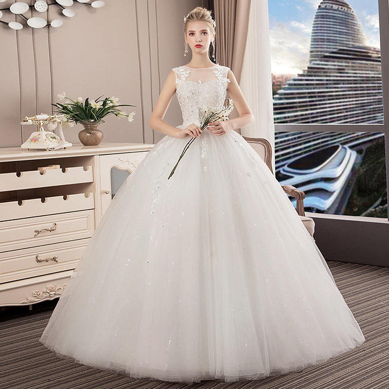 YULUOSHA New Wedding Gowns Sleeveless Appliques Backless Lace Up O-Neck Short Wedding Dress Sexy Gown Dress Vestidos De Novia