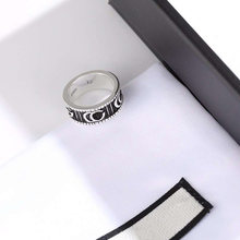 1:1 Classic 925 Silver Ring GG Retro Distressed Craft Charm Ring Free Gift Box