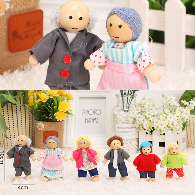Happy Family Dolls Set Miniature 6 People Wooden Jointed Dolls Muppet Kids Pretend Play Play House Toys Dressed Characters Gifts 5