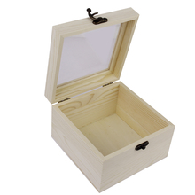 Wood handmade trinket jewelry box Storage Box Make up Holder With Mirror Lid