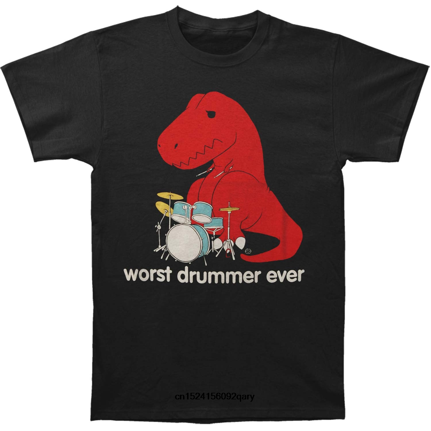 Men Funny T Shirt Women Cool tshirt Humor Worst Drummer Ever T-shirt Short Sleeve Tee Shirt Free Shipping cheap wholesale image