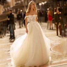 Single Element Luxury Wesele Boda Bridal Gown Formal Trouwjurk Tulle Boat Backless Boho Wedding Dresses For Girl