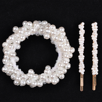 14 Colors Woman Elegant Pearl Hair Ties Beads Girls Scrunchies Rubber Bands Ponytail Holders Hair Accessories Elastic Hair Band 33