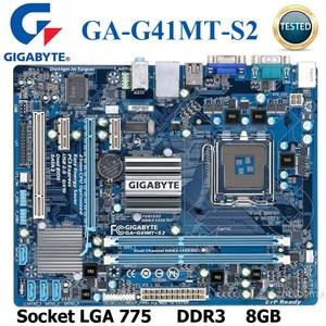 Socket LGA 775 GIGABYTE GA-G41MT-S2 Desktop Motherboard G41 Socket LGA 775 For Core 2 DDR3 8G Micro ATX Original Mainboard DDR3