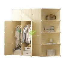 Bedroom Furniture Storage plastic Cabinet Wardrobe Closet Steel Skeleton Kids non Woven Wardrobe Assembly Simple and