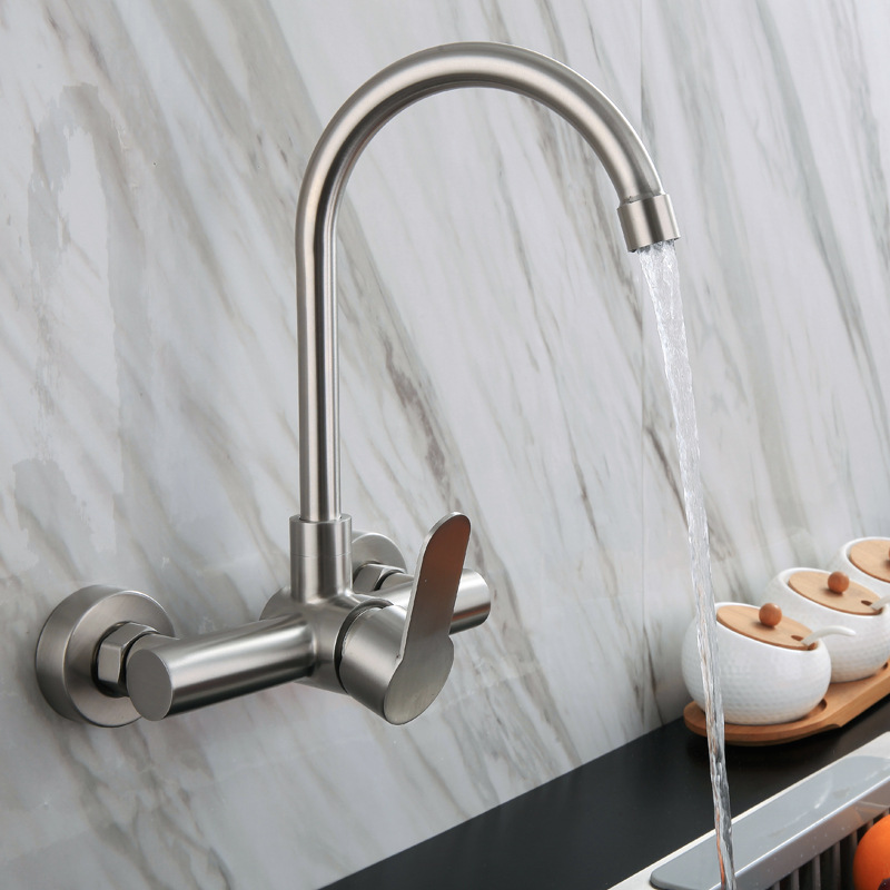Special Offer 304 Stainless Steel Diplopore Wall-in Hot And Cold Faucet Balcony Laundry Tub Rotating Cold Kitchen Faucet