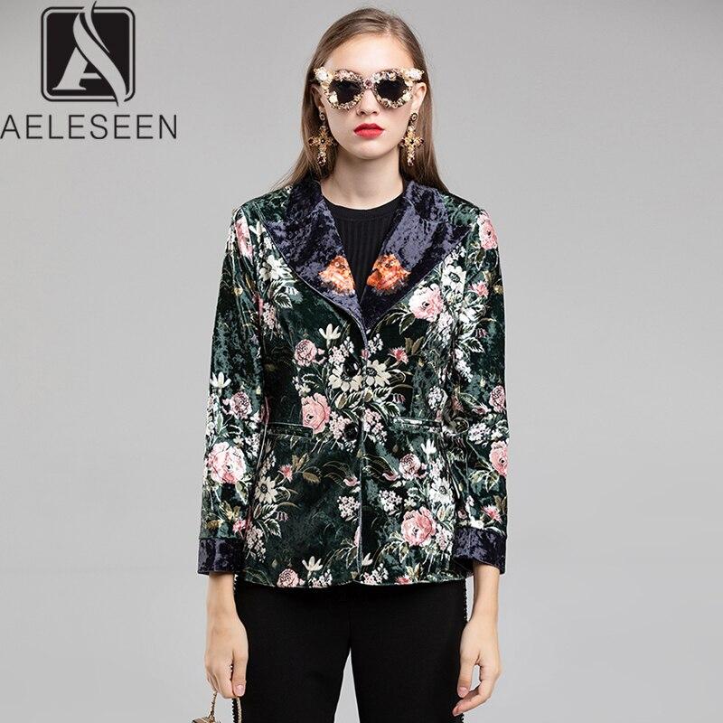 AELESEEN 2019 Winter On Sale Runway Floral Print Jacket Offce Lady Single Breasted Vintage Flower Dark Green Velvet Blazer Women