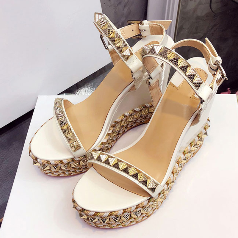 MEW Platform Sandals Women Open Toe Rivet Mixed Color Wedges Shoes For Women Runway High Heels Gladiator Party Dress Shoes Woman - 3
