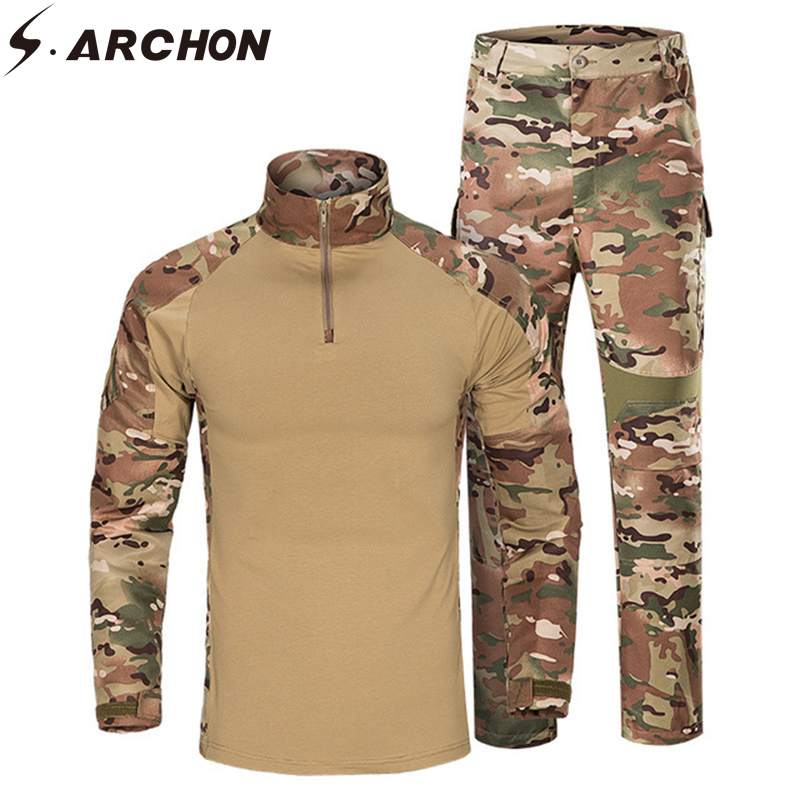 S.ARCHON Camouflage Military Uniform Set Men Long Sleeve Multicam Tactical Soldier Army Uniform Camo Combat Battle Clothes Suit