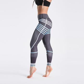 Qickitout 12% Spandex High Waist Digital Printed Fitness Leggings Push Up Sport GYM Leggings Women 25