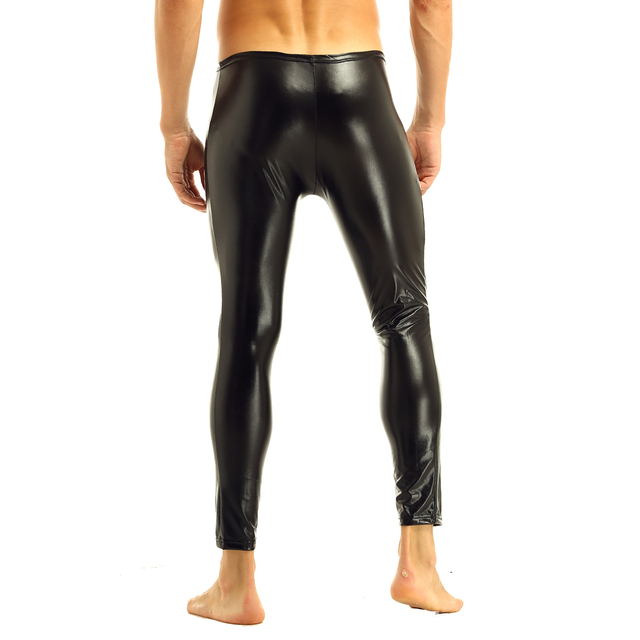 Mens Black Glossy Patent Leather Front Zipper Bulge Pouch Legging Pants Sexy Low Rise Elastic Waistband Slim Fit Long Trousers 4