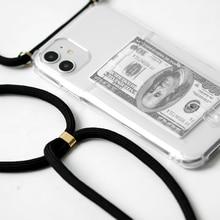 Credit card slot, transparent, transparent phone case 11 Pro XS MAX X XR 8 7 6 6S Plus chain TPU chain lanyard soft bag