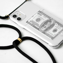Ranura para tarjeta de crédito, funda transparente para teléfono 11 Pro XS MAX X XR 8 7 6 6S Plus cadena TPU cordón suave bolsa