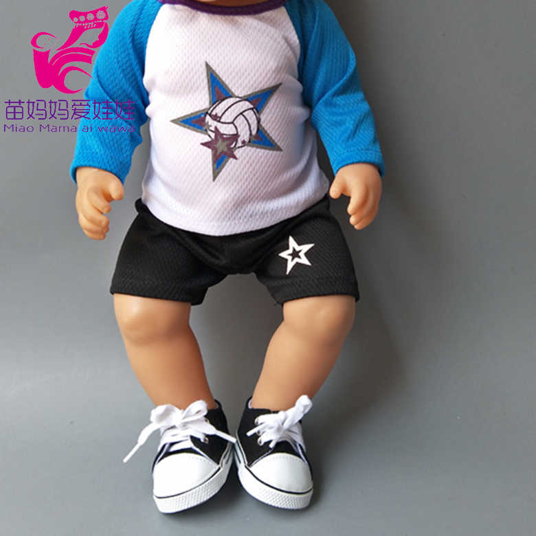 Ropa con capucha roja, pantalones, camisa blanca, adecuada para muñecas de bebé de 43 cm, ropa de niño de 18 pulgadas para muñecas, traje de muñeca para niñas, regalos para niños