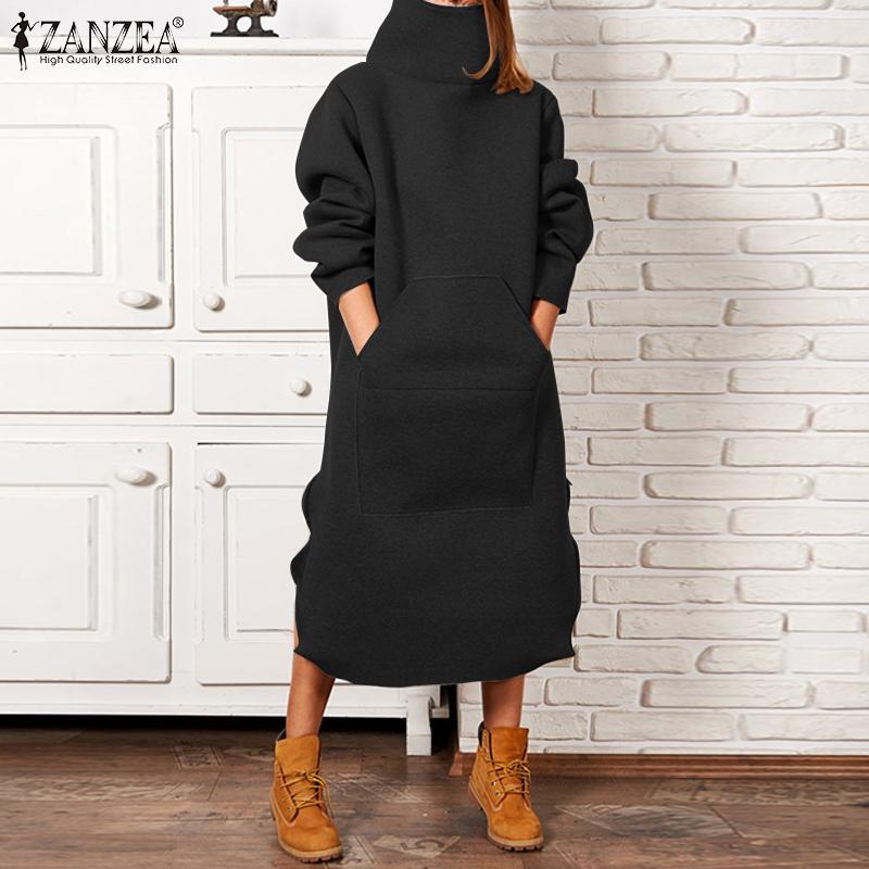 ZANZEA Women Turtleneck Dress Plus Size Female Winter Long Sleeve Mid Calf Dresses Casual Pullover Vestidos Side Pockets Robe