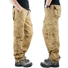 Мужские брюки карго в стиле милитари, повседневные хлопковые тактические брюки цвета хаки, большие размеры, весна 2020